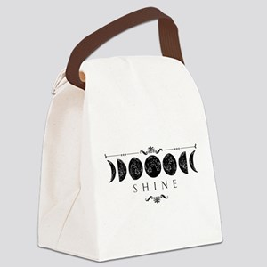 MoonPhases-BLK Canvas Lunch Bag