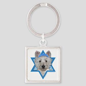 Hanukkah Star of David - Westie Square Keychain