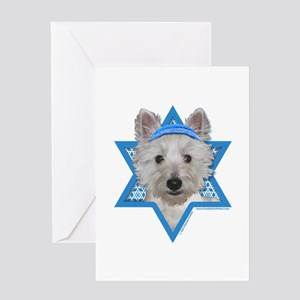 Hanukkah Star of David - Westie Greeting Card