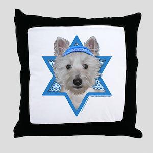Hanukkah Star of David - Westie Throw Pillow