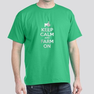 Keep Calm and Farm On Dark T-Shirt