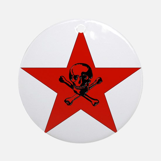Red Star and Skull Ornament (Round)