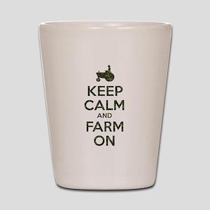 Camouflage Keep Calm and Farm On Shot Glass