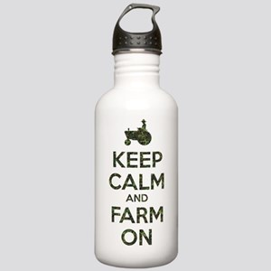 Camouflage Keep Calm and Farm On Water Bottle