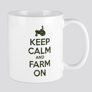 Camouflage Keep Calm and Farm On Mugs