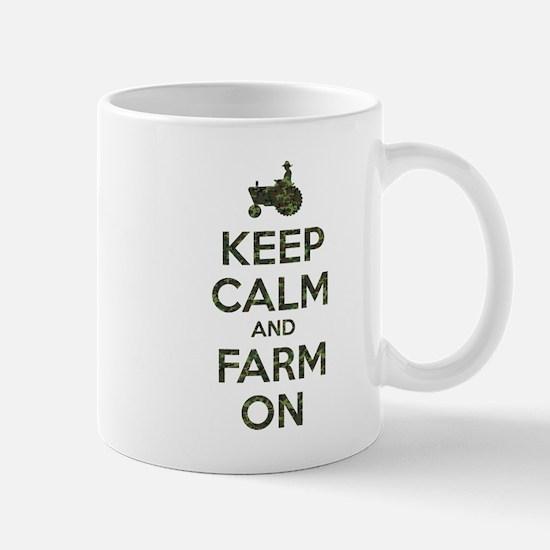 Camouflage Keep Calm and Farm On Mugs