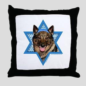 Hanukkah Star of David - Vallhund Throw Pillow