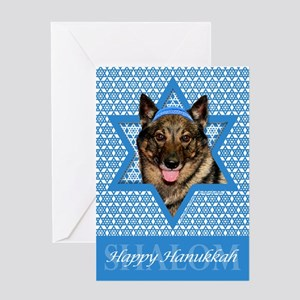 Hanukkah Star of David - Vallhund Greeting Card