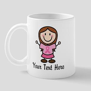 Personalized Breast Cancer Stick Figure Mug