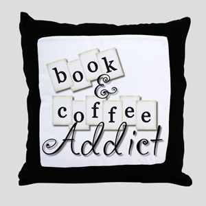 Book and Coffee Addict Throw Pillow