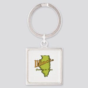 Illinois Funny Motto Square Keychain