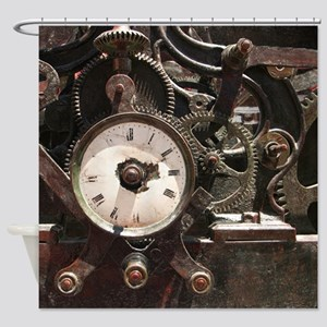 Industrial Clock/Gears Shower Curtain