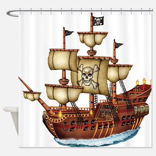 Pirate Ship with Stripes Shower Curtain