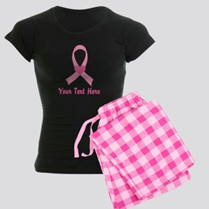 Breast Cancer Personalized Ribbon Women's Dark Paj