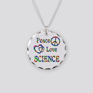 Peace Love SCIENCE Necklace Circle Charm
