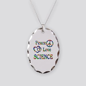 Peace Love SCIENCE Necklace Oval Charm