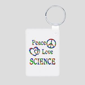 Peace Love SCIENCE Aluminum Photo Keychain