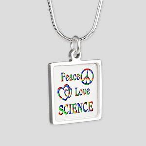 Peace Love SCIENCE Silver Square Necklace