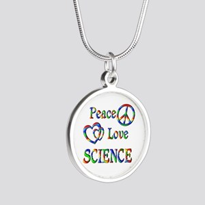 Peace Love SCIENCE Silver Round Necklace