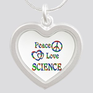 Peace Love SCIENCE Silver Heart Necklace
