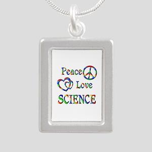 Peace Love SCIENCE Silver Portrait Necklace