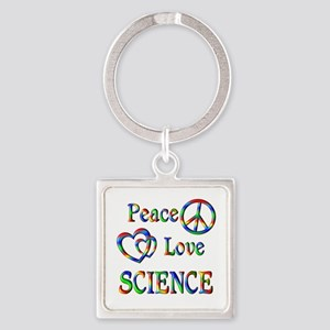 Peace Love SCIENCE Square Keychain