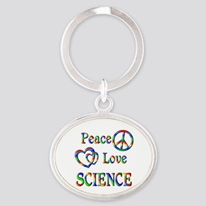 Peace Love SCIENCE Oval Keychain