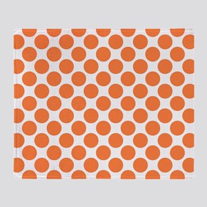 Orange Polka Dots! Throw Blanket
