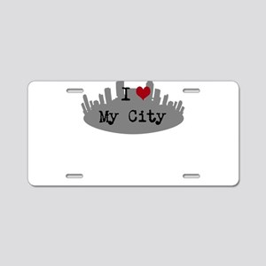 Customizable I Heart City Aluminum License Plate