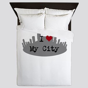 Customizable I Heart City Queen Duvet
