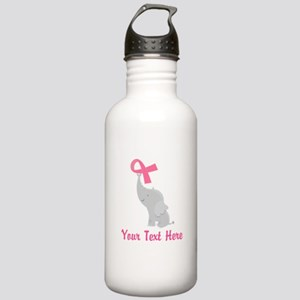 Breast Cancer Personalized Ribbon Stainless Water