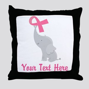 Breast Cancer Personalized Ribbon Throw Pillow