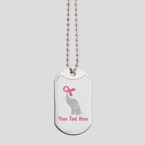 Breast Cancer Personalized Ribbon Dog Tags