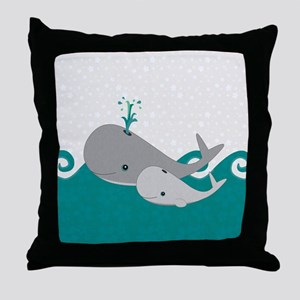 Cute Whale and Baby Ride the Waves Throw Pillow