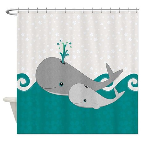 Cute Whale And Baby Ride The Waves Shower Curtain