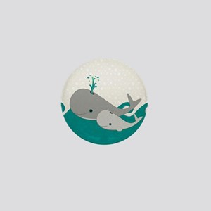 Cute Whale and Baby Ride the Waves Mini Button