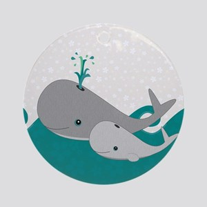 Cute Whale and Baby Ride the Waves Ornament (Round