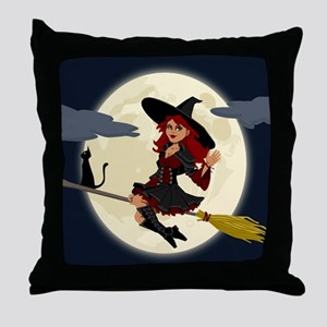 REDHEADED HALLOWEEN WITCH Throw Pillow