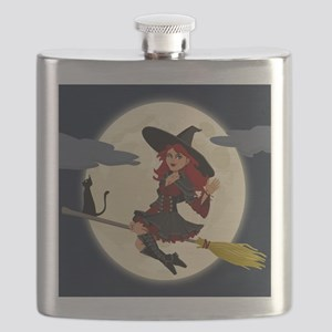 REDHEADED HALLOWEEN WITCH Flask