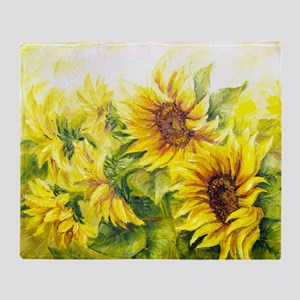 Sunflowers Oil Painting Throw Blanket