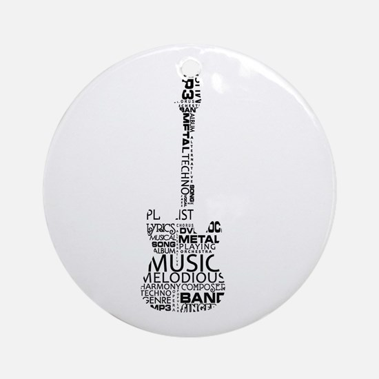 guitar word fill black music image Ornament (Round