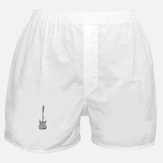 guitar word fill black music image Boxer Shorts