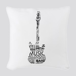 guitar word fill black music image Woven Throw Pil