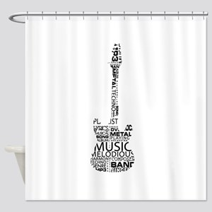 guitar word fill black music image Shower Curtain
