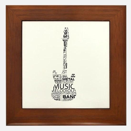 guitar word fill black music image Framed Tile