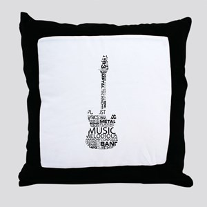 guitar word fill black music image Throw Pillow