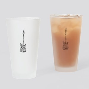 guitar word fill black music image Drinking Glass