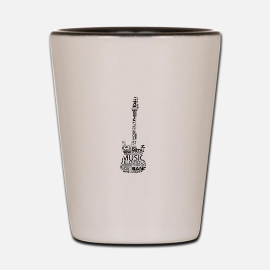 guitar word fill black music image Shot Glass