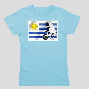 Uruguay Soccer Flag Girl's Tee