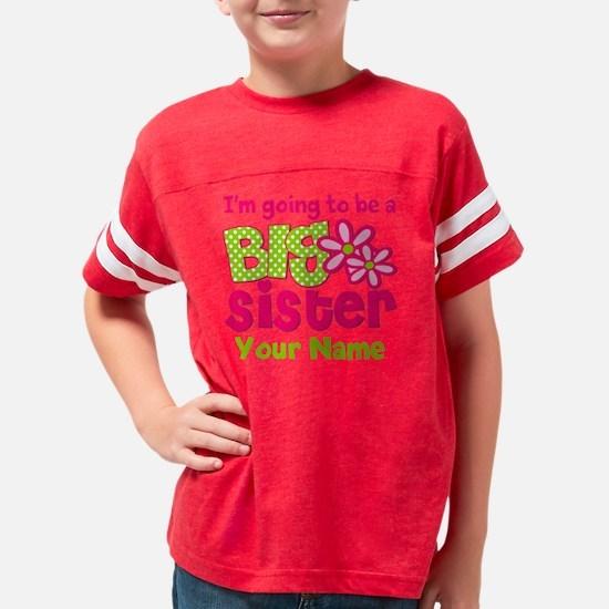 Big Sister To Be Pink Green Youth Football Shirt